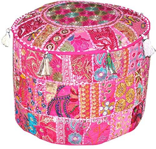 Indian Bohemian Patchwork Pouf Ottoman, Vintage Indian Pouf, pouffe, pouffes, Foot Stool, Round Pouf Ottoman, Bean Bag, Floor Pillow Ottoman Pouf, 14x22 Inch. By Bhagyoday by BhagyodayFashions