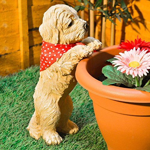 Peeping Puppy Garden Ornament Dog Decoration Plant Pot Outdoor Weatherproof By HOME HUT
