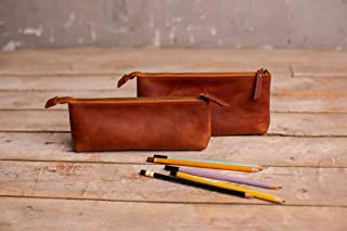 Leather Pen Pouch Zipper, Genuine Leather Pencil Case Holder Handmade Vintage Stationery Bag Organizer Storage for Student...