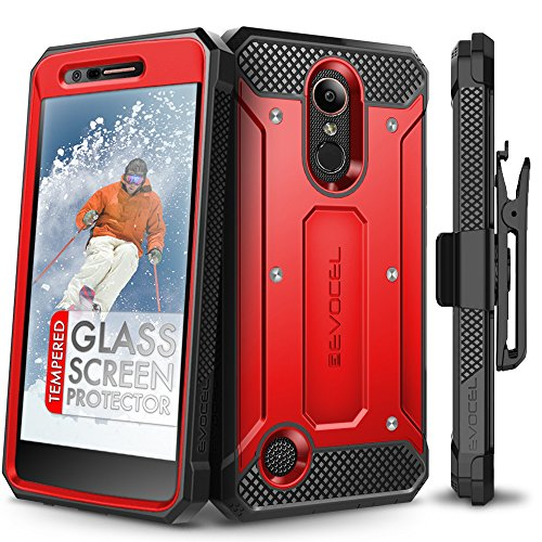 LG K20 Plus Case, Evocel [Explorer Series] with Free [LG K20 Plus Glass Screen Protector] Premium Full Body Case [Slim Profile][Rugged Belt Clip Holster] for LG K20 Plus / K20 V/LG Harmony, Red