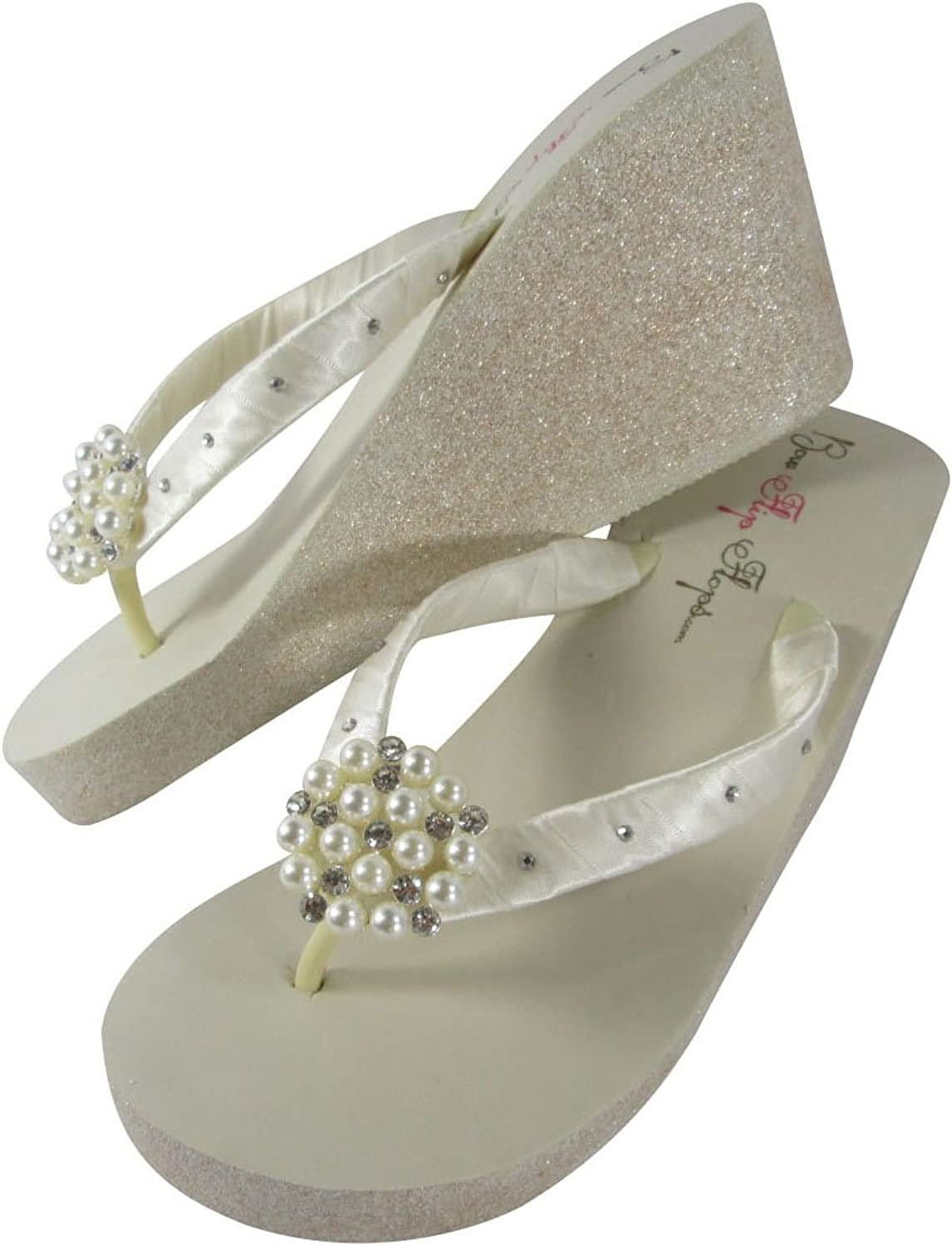 Pearl with Crystal Rhinestone Accented Ivory Wedge Flip Flops in 3.5 inch Champagne Platform Heel