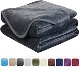 EASELAND Soft King Size Summer Blanket Winter Warm Microplush Lightweight Thermal Fleece Blankets for Couch Bed Sofa,90x108 Inches,Dark Gray