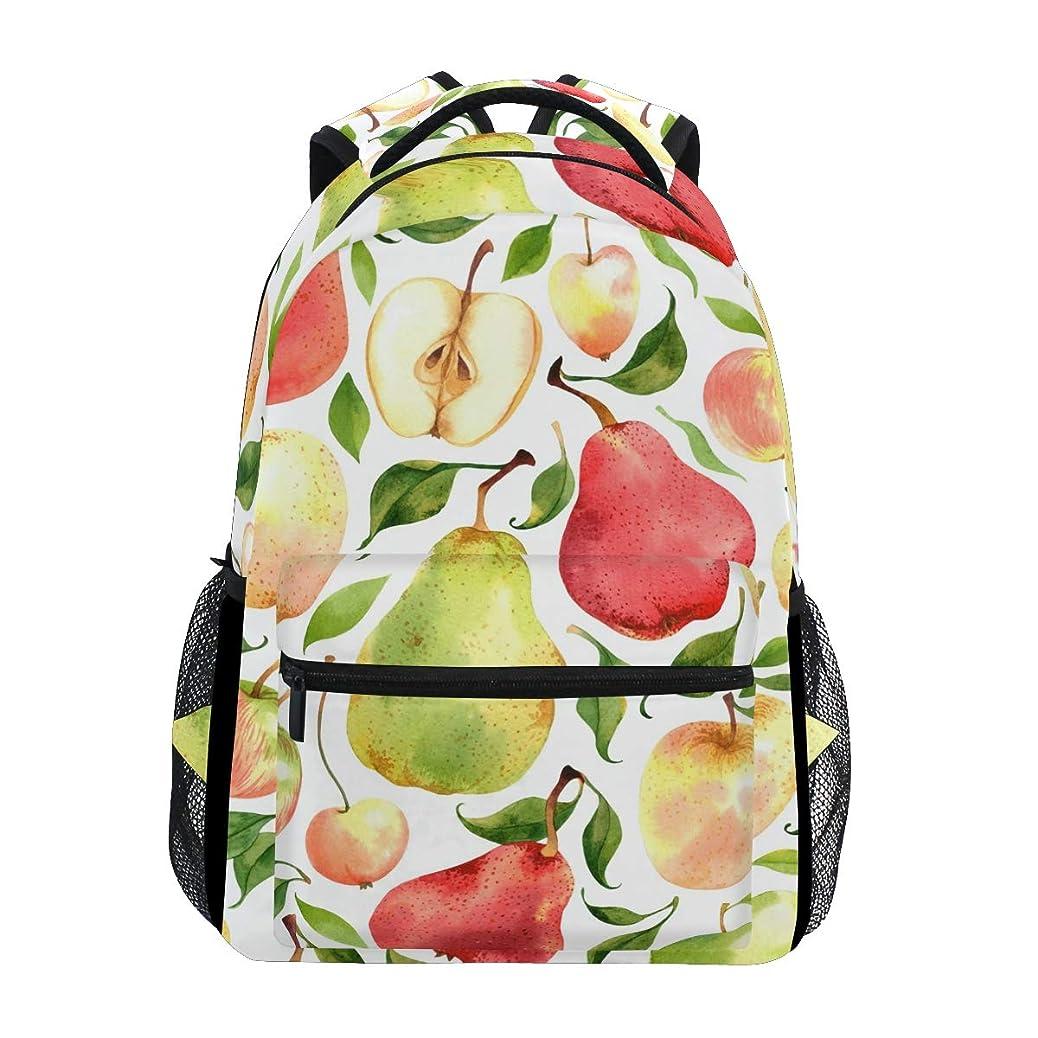 放置シソーラス劇作家マキク(MAKIKU) リュック レディース 大容量 軽量 リュックサック メンズ 高校生 A4 中学生 小学生 通学 林檎柄 りんご なし 果物