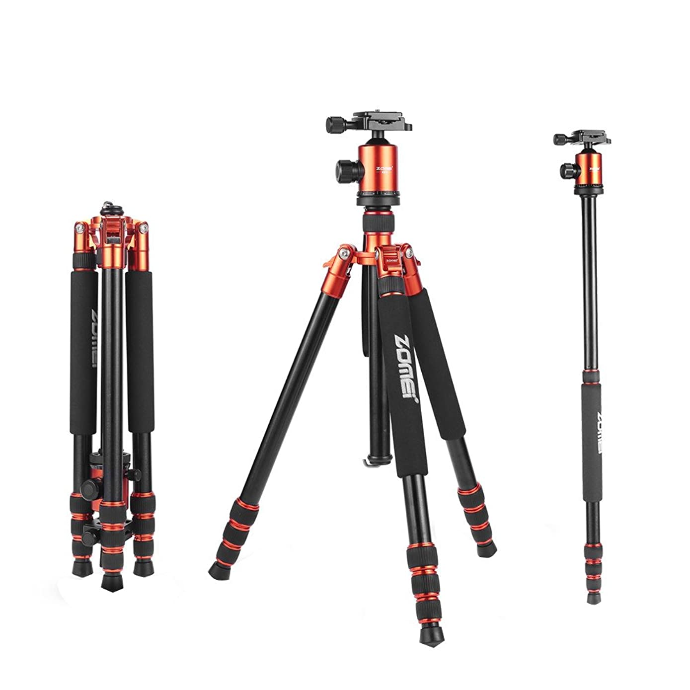 ZOMEI Tripod,Camera Tripod,Heavy Duty Camera Tripod Camera Travel Z818 Tripod Aluminium Alloy Monopod with 360 Panorama Ball Head Quick Release Plate Ball for DSLR Canon Sony Nikon Cameras(Orange)