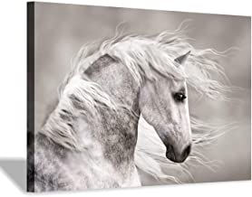 """White Horse Canvas Picture Painting: Animals Artwork Print Wall Art for Living Room(36""""x24""""x1 Panel)"""