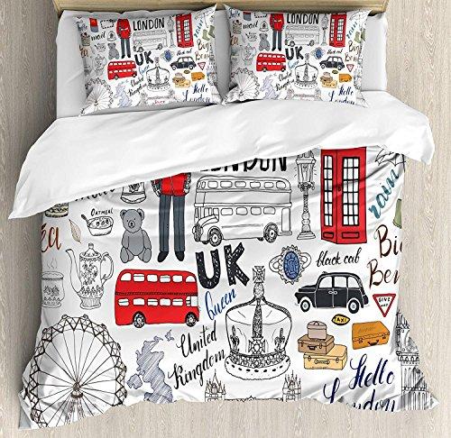 Doodle 3 STÜCKE Bettwäscheset, Ich Liebe London Doppeldeckerbus Handyzelle Fahrerhaus Krone des Vereinigten Königreichs Big Ben, Bettwäscheset Tagesdecke für Kinder / Jugendliche / Erwachsene / Kind