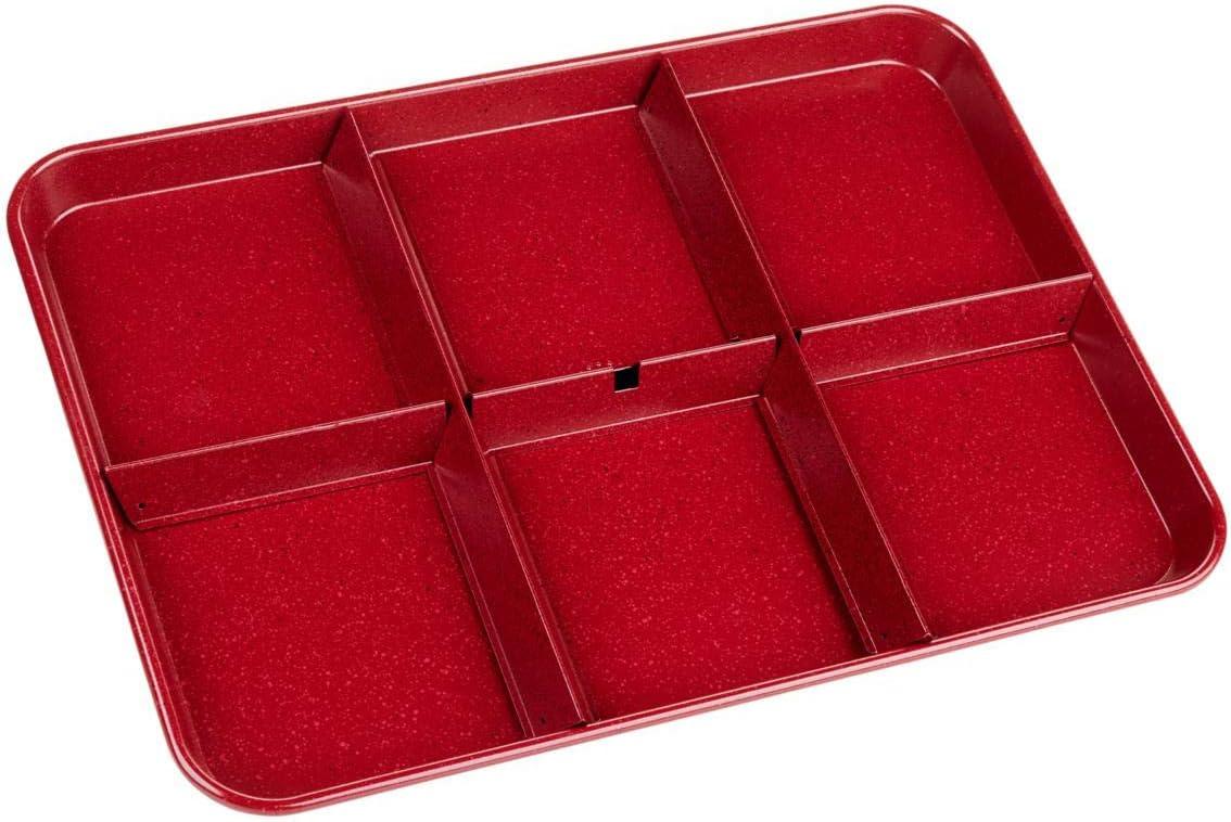 Curtis Stone Dura-Bake Divided Sheet Pan Set Model 720-525 (Renewed), Red