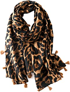 HUAhuako Head Scarf, Leopard Tassel Headband, Muslim Ramadan Hijab Shawl Accessory for Women Daily Use Coffee Leopard