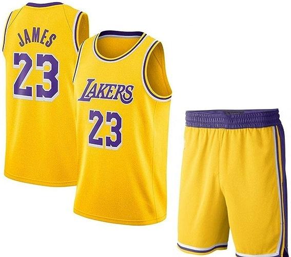 FENGS Maillot de Basketball pour Hommes Lebron James   23 - La NBA Lakers, Un Nouveau Maillot Swinghomme brodé en Tissu et des courtes sans Manches