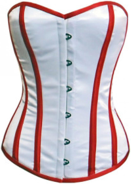 White Red Satin Gothic Retro Burlesque Bustier Waist Cincher Overbust Corset Top
