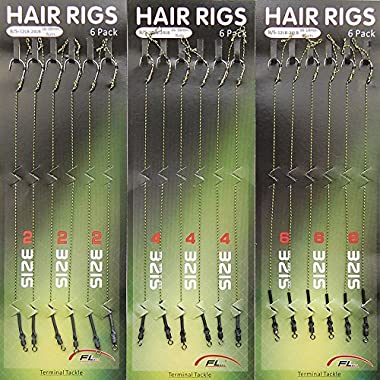 Shaddock Fishing 18pcs Carp Fishing Hair Rigs Braided Thread 8340 High Carbon Steel Hook Swivel Boilies Carp Rigs Carp Fishing Accessories