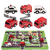 SunbriloStore Fire Truck Toys with Play Mat,Fire Vehicles Set Include 6 Fire Engines, 14' x 18' Fire Rescue Playmat, Mini Pull Back Car Toys,Mini Rescue Emergency Transport Vehicle Birthday Christmas