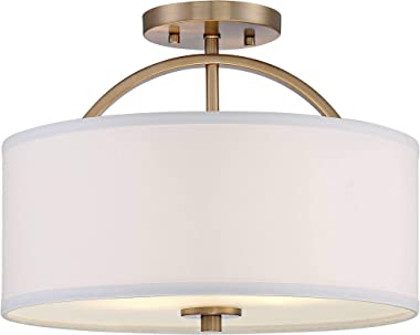 "Halsted Modern Ceiling Light Semi Flush Mount Fixture Warm Brass 15"" Wide White Linen Drum Shade for Bedroom Kitchen Livi"