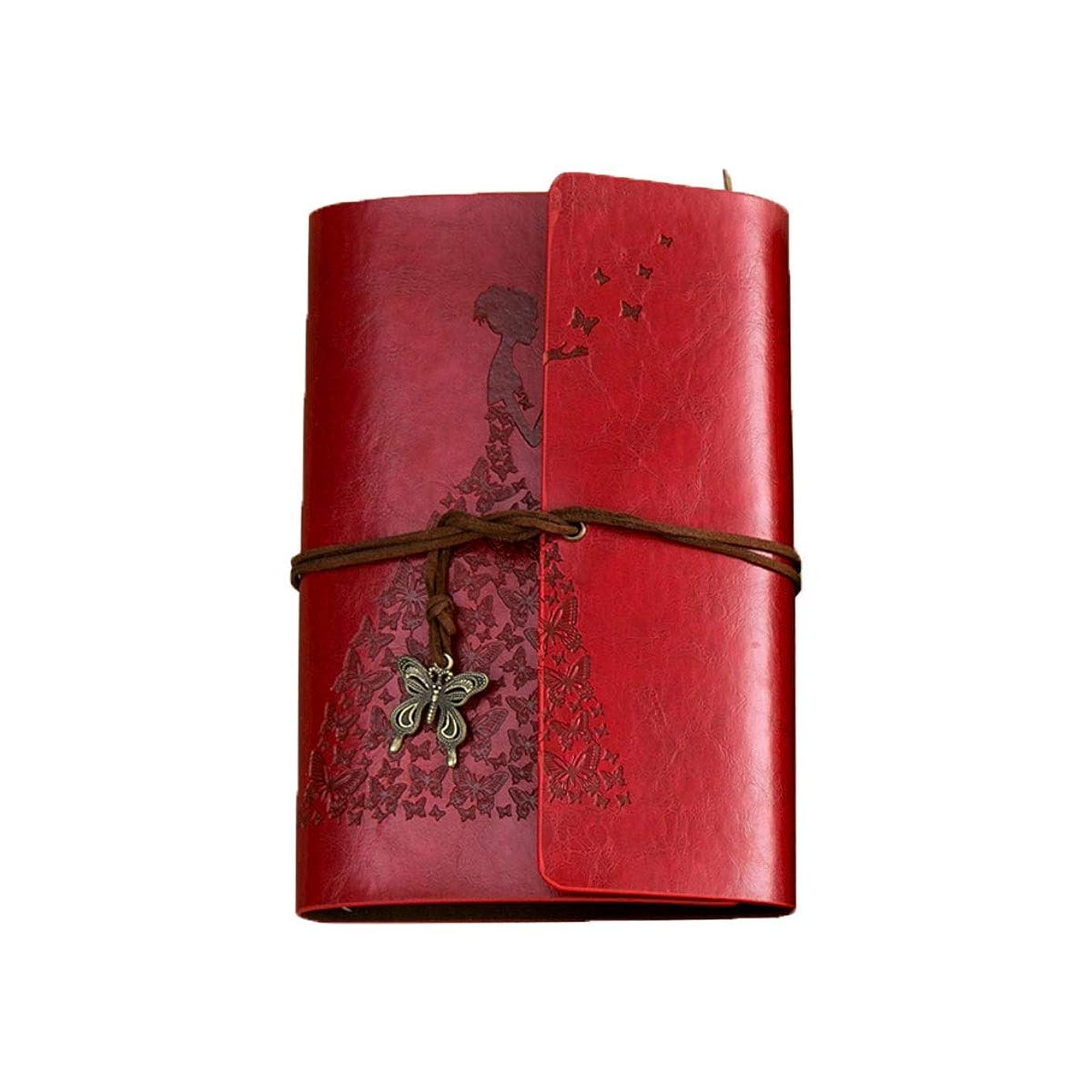 Hengtongtongxun ビンテージクラフト紙メモ帳、クリエイティブ日記日記、ルーズリーフノート、茶色、赤、黄色、青、真鍮 高品質の製品 2 (Color : Red, Style : A)