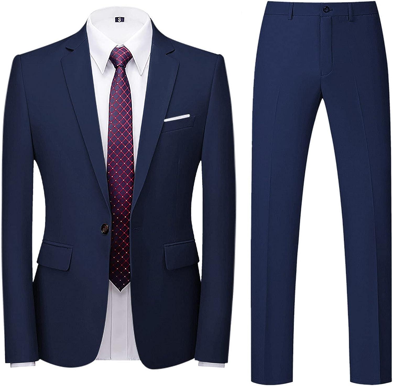 Suits for Men Elegant Mens Suit Slim 2-Piece Single Button Suit Business Wedding Party Jacket Top & Pants
