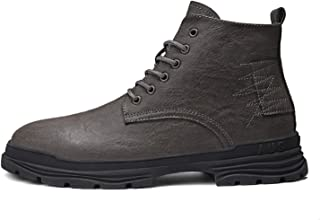MING-BIN Shoes Comfortable Fashion Boots for Men Round Toe High Top Lace Up Brush Off Stitching Pull Tap Synthetic Leather...