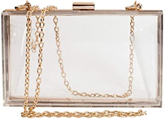 SODIAL Women Cute Clear Acrylic Box Clutch Crossbody Purse Evening Bag