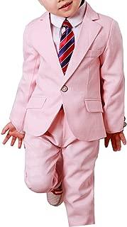YUFAN Boys Gray Blue Pink Plaid Suits Set 3 Pieces Jacket Pants Shirt Spring Summer