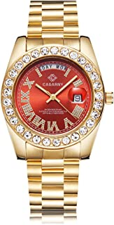 Crystal-Diamond Gold Watch Men - Quartz Analog Waterproof Auto Date Week Stainless Steel Watch for Men