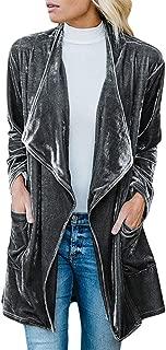 Womens Lapel Draped Velvet Jacket Open Front Cardigan Coat with Pockets