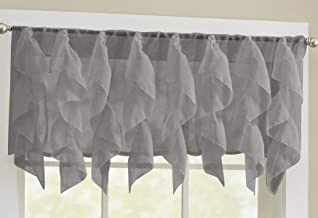 Sweet Home Collection Veritcal Kitchen Curtain Sheer Cascading Ruffle Waterfall Window Treatment-Choice of Valance, 24