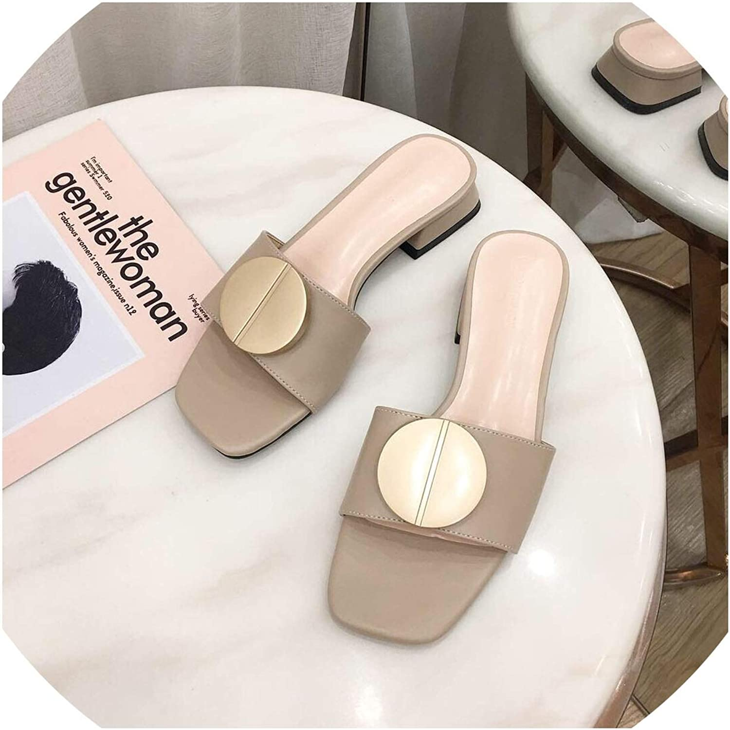 goldsmyth Summer Fashion New Slippers Round Buckle Square Street Wear Women shoes