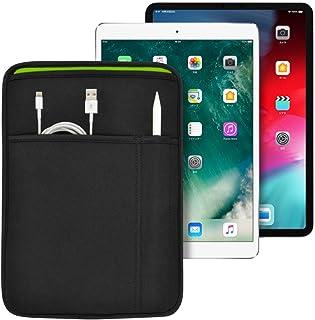 iPad 11インチ/10.9インチ/10.5インチ/10.2インチ (Pro/Air) 用 JustFit スリーブケース (ブラック/グリーン) ApplePencil や充電ケーブル等が収納出来る2つのポケット付 専用設計だからジャストフ...
