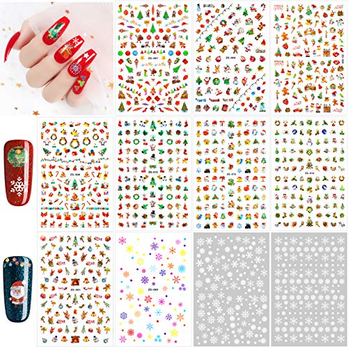 Qpout 870+pcs Christmas Nail Sticker Peel and Christmas Self-adhesive 3D Nail Decals,Santa Snowflake Holiday Nail Stickers for Kids Women Girls Nail Decorations, Christmas Party Favor Supplies