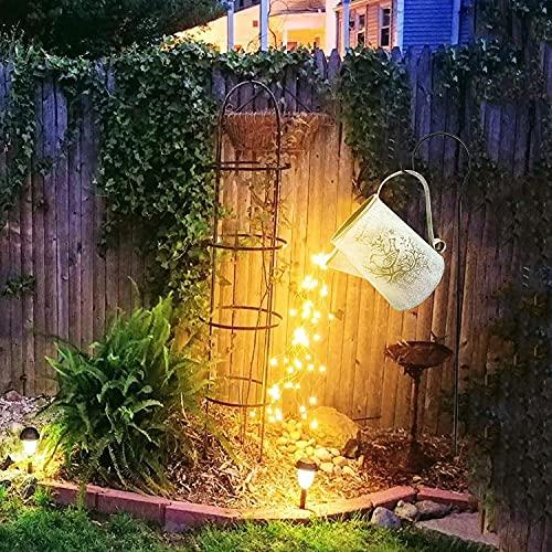 PDXGZ LED Garden Lights Fairy Lamp, Metal Watering Can, Starry Sky Shower Garden Art Lights Used for Outdoor Garden Lawn Decoration(Kettle + Bracket + Light String)