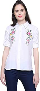 C.Cozami Women's Casual Long Sleeves White Embroidered Shirt