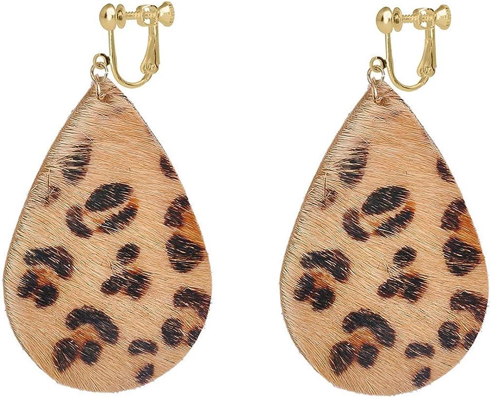 Faux Leather Leaf Clip on Earrings for Women Girls Non Pierced Leopard Printed Disco Style Bling Teardrop