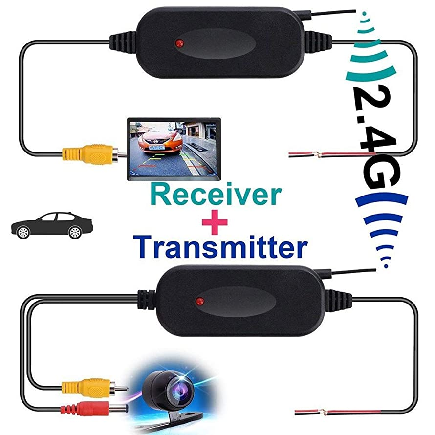 Yesbaby 2.4G Car Wireless Video Transmitter & Receiver Kit for Car Truck Reversing Backup Camera Monitor System