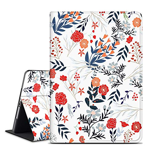 iPad Air 2 9.7' Case, INSSISAIN iPad 6th/5th Generation Case, Soft TPU Back, PU Leather Protective Smart Cover with Auto Sleep/Wake for Apple iPad Air 1/2, Red Flower