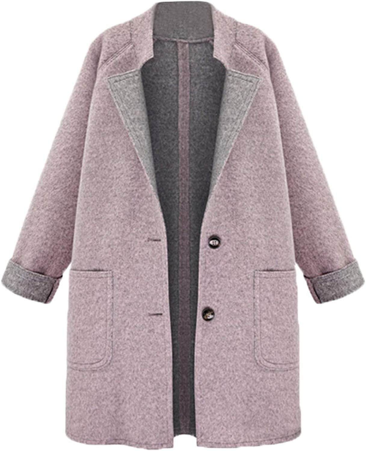 colorfulspace 2019 TOP Womens Winter Lapel Wool Coat Loose Plus Overcoat Outwear 11.9