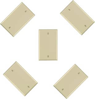 iMBAPrice Blank Wall Plate Outlet Cover for Thermoset/Box Mount/Wall Outlet/Light Switch and More - Ivory (Pack of 5)