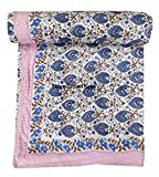 HomeExportKing Cotton Dohar Throw Blanket Made with Cotton, Dohar Hand Block Print Cotton Blanket Indian Fabric Soft (King Size 90'x108' Inch)