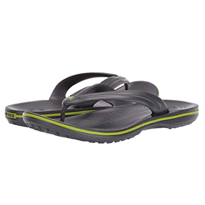 Crocs Crocband Flip (Graphite/Volt Green) Shoes