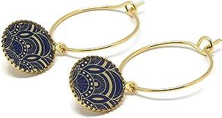 Mini BLUE Art Deco orecchini blu oro arabesco ottone dorato 24K resina oro regali personalizzati regalo di natale amici co...
