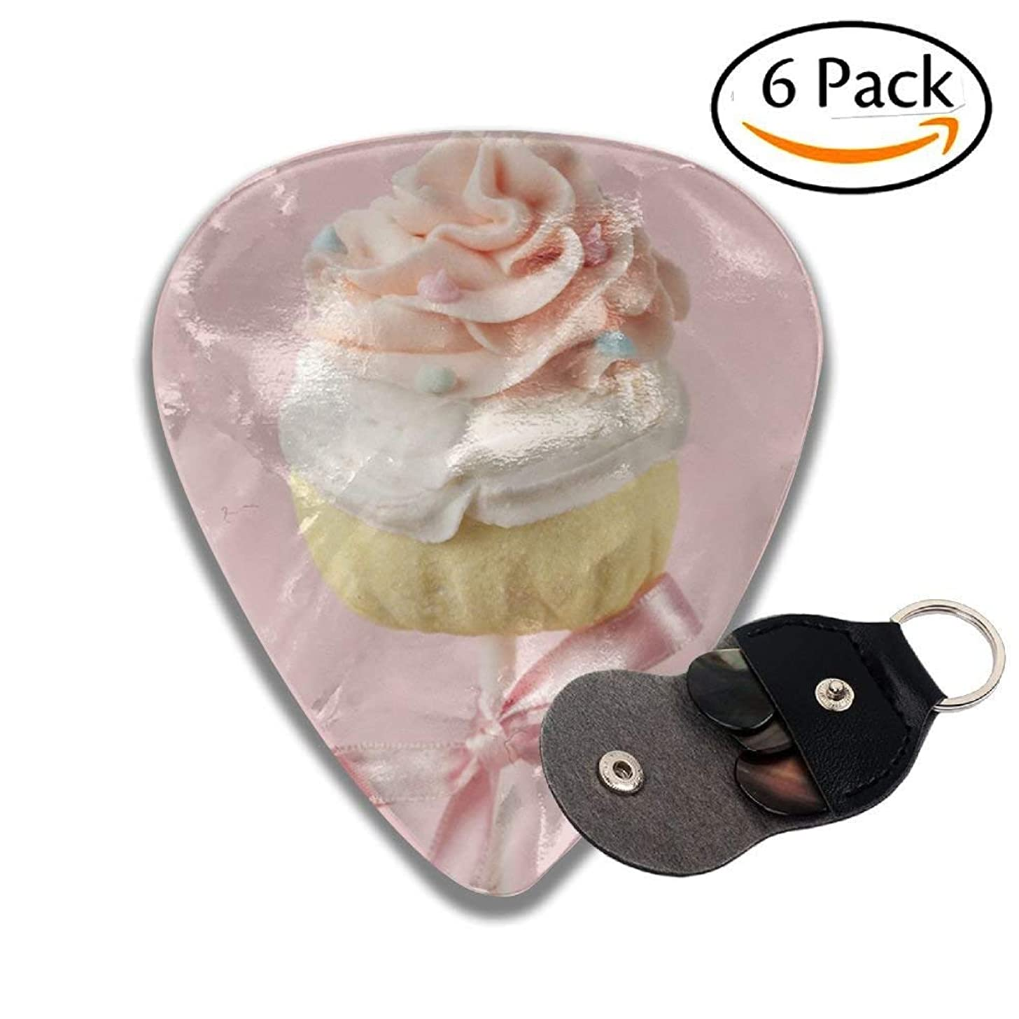 Colorful Cupcake Pops On Pink Stylish Celluloid Guitar Picks Plectrums For Guitar Bass .46mm 6 Pack