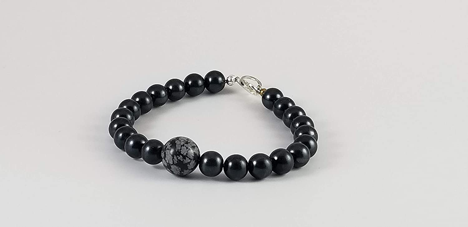 8 inch Beaded At the price of surprise Bracelet with Obsidian Snowflake unisex
