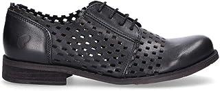 FELMINI Women's B655N Black Leather Lace-Up Shoes