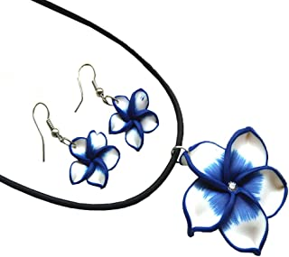 Donau Plumeria Hawaii Flower Polymer Clay Earrings Pendant Necklace Jewelry Sets 18Colors