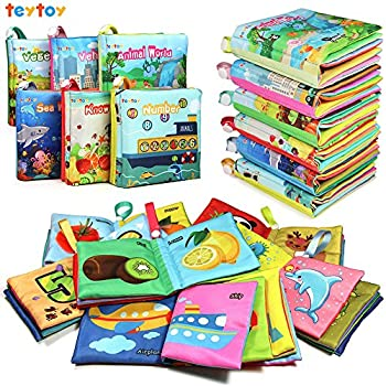 teytoy My First Soft Book Nontoxic Fabric Baby Cloth Books Early Education Toys Activity Crinkle Cloth Book for Toddler Infants and Kids Perfect for Baby Shower -Pack of 6