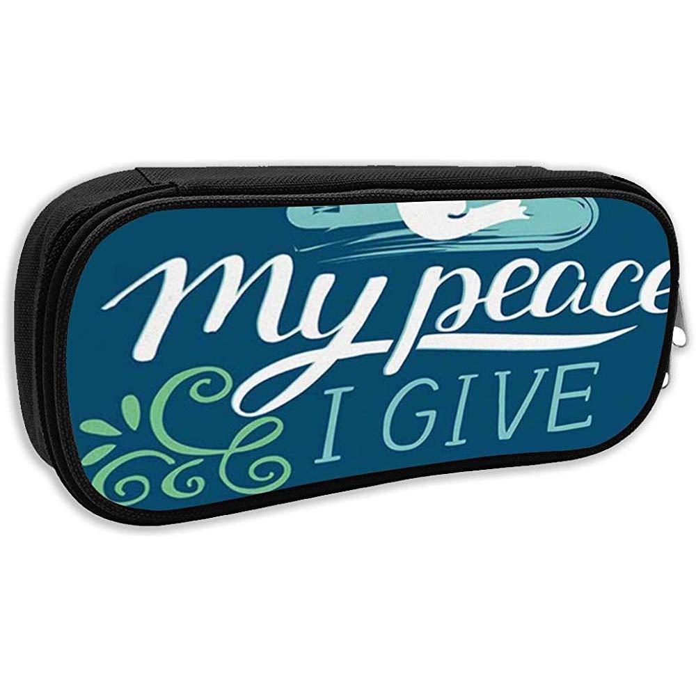 Estuche escolar, letras bíblicas de la mano Mi paz te doy sobre el fondo azul C Bolso de bolígrafo Bolso de papelería de oficina: Amazon.es: Oficina y papelería
