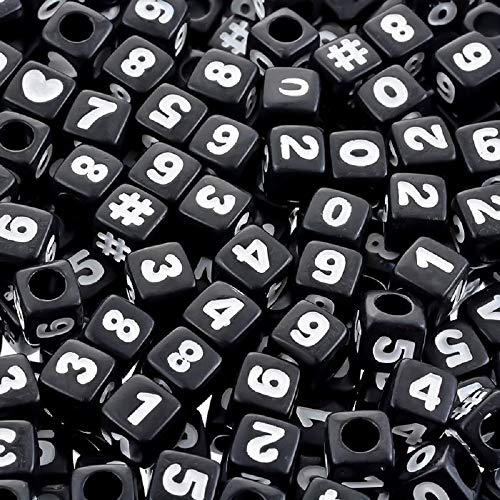 Souarts 300pcs 7x7mm Letter-Beads Acrylic Number Beads for Bracelets Making Plastic Black Cube Shape Loose Beads DIY Jewelry Making Supplies