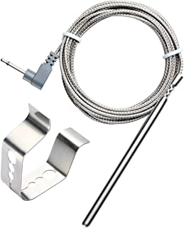 BBQGO Ambient Temperature Barbecue Oven Grill Thermometer Probe Replacement and Clip for Maverick ET732, ET733, Ivation IVA-WLTHERM, IVAWT738 with 6ft Stainless Steel Cable (Oven probe and Clip)