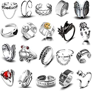 20 Pcs Open Rings Frog Leaf Chain Adjustable Ring for...