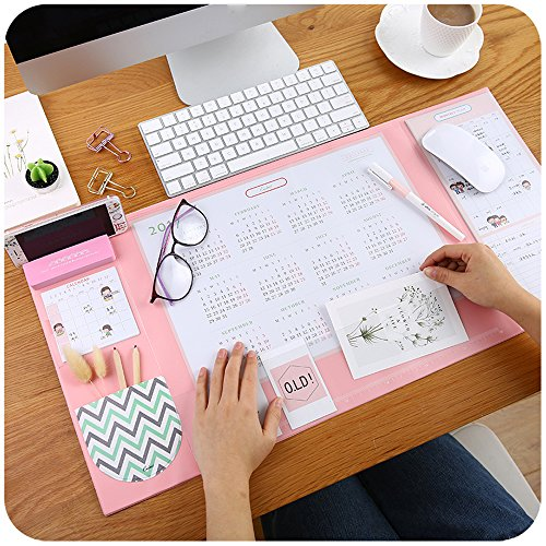 Large Size Mouse pad Anti-Slip Desk Mouse Mat Waterproof Desk Protector Mat with Smartphone Stand, Pockets, Dividing Rule, 2021 Calendar and Pen Groove (Pink)