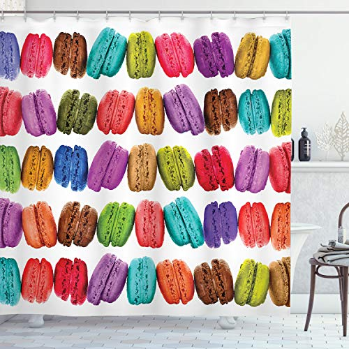 """Ambesonne Colorful Shower Curtain, French Macarons in a Row Coffee Shop Cookies Flavours Pastry Bakery Food Design, Cloth Fabric Bathroom Decor Set with Hooks, 75"""" Long, Multicolor White"""