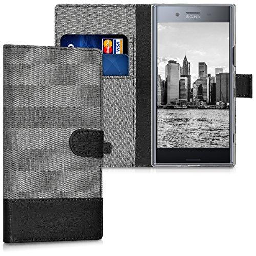 kwmobile Hülle kompatibel mit Sony Xperia XZ Premium - Kunstleder Wallet Hülle mit Kartenfächern Stand in Grau Schwarz